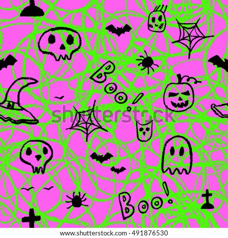 Halloween seamless pattern, Hand drawn decorative template. Doodle design element.