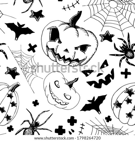 halloween seamless pattern in