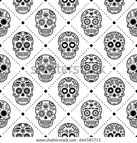 halloween seamless pattern mexican sugar skull vector design dia