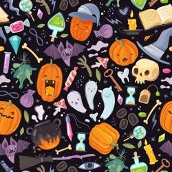 Halloween seamless pattern. Set of flat cartoon style icons on a dark background. Vector illustration