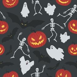 Halloween seamless pattern. Vector background with pumpkin, bat, skeleton, ghost.