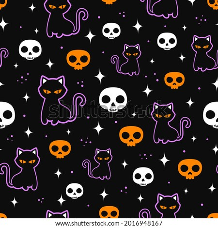 halloween seamless pattern with colored skulls and black cat, background scary or festive elements, flat design