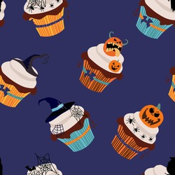 Halloween seamless pattern with cupcakes,traditional symbols.Marzipan Jack-o'-lantern,chocolate raven,cobwebs and spiders,witch hat from fudge,vanilla cream,chocolate icing.Print for Halloween card