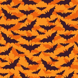 Halloween Seamless Pattern with Flying Black Bat Silhouettes on Orange Background. Vector Illustration.