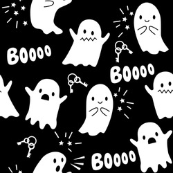 Halloween seamless pattern with ghosts. Vector illustration.