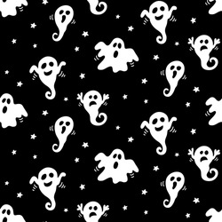Halloween seamless pattern with hand drawn white ghosts doodles on black background. Vector illustration for wrapping paper, textile.