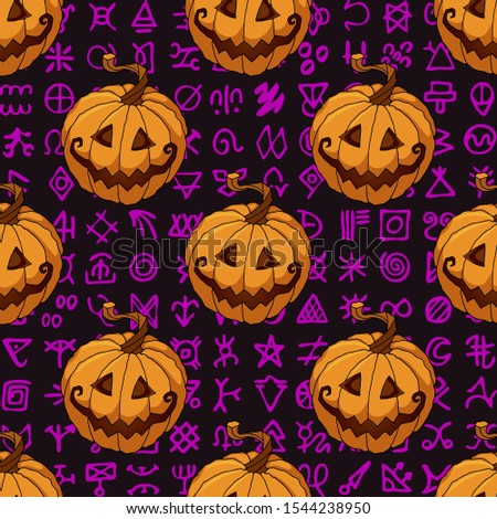 Halloween seamless pattern with orange pumpkins on ancient mystic symbols scripts background. The Jack Lantern gift box wrapping paper, party decoration, textile, linen print design
