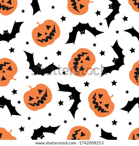Halloween Seamless Pattern with Pumpkin and Bats. Halloween Background with Pumpkin and Bats. Colored Vector Patterns in Flat style.