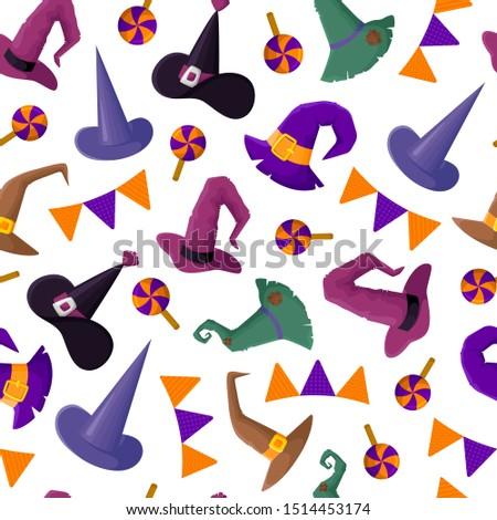 Halloween seamless pattern with witches hat, candy, flags, funny and creepy characters, wizard headgears - traditional holiday symbols, flat style, vector texture or background for print, textile