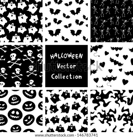 Halloween seamless patterns. Vector collection
