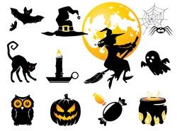 Halloween set, black /orange figures for decoration