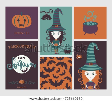 Halloween set. Cute witch in hat,  spider, bat,Halloween pumpkin, copper with  potion. Inscription Halloween against background of the moon. Halloween Poster