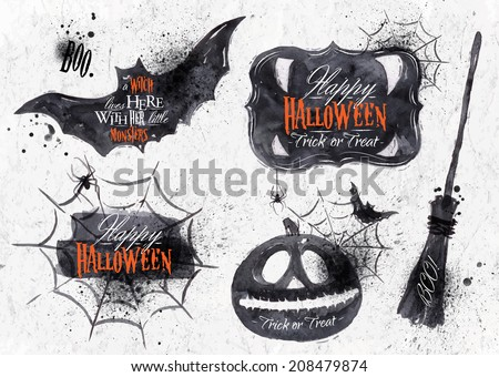Halloween set, drawn symbols pumpkin, broom, bat, spider webs, lettering and stylized drawing in vintage style