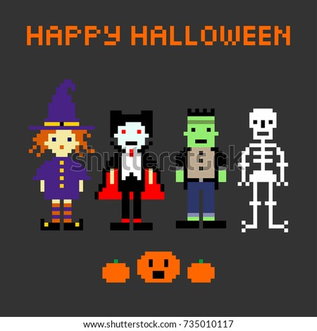 Halloween set in style of eight-bit game. Witch, Dracula, Frankenstein, skeleton.Pumpkin, inscription happy Halloween.Vector illustration