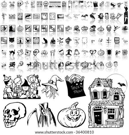 Halloween set of black sketch. Part 7. Isolated groups and layers.