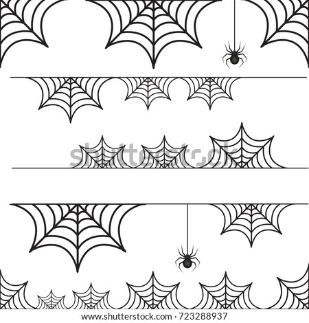 Halloween set of border cobweb with spider. Collection of scary borders. Isolated on white background. Vector illustration