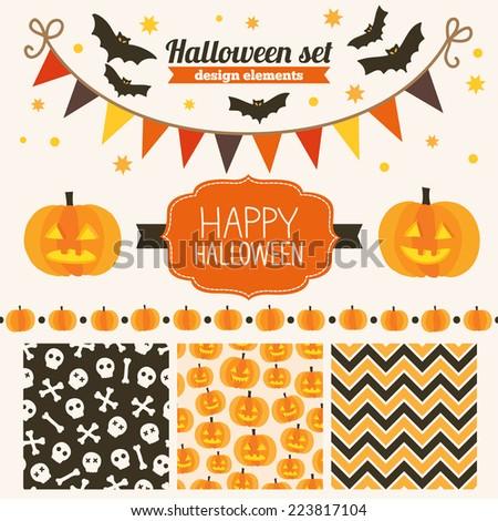 Halloween set of design elements seamless patterns label stars garland bats pumpkins header ribbon