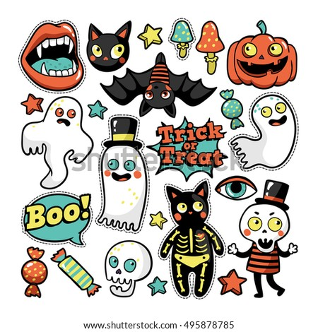 Halloween set of patches with ghost, pumpkin, vampire, black cat, skeleton and other elements. Vector illustration isolated on white background. Set of stickers, pins, patches in cartoon comic style.