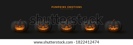 halloween set of pumpkin for