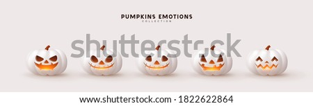 Halloween Set of pumpkin for holiday. Realistic 3d white pumpkins with cut scary good joy smile. Collection of 3d objects. Design elements isolated on light background. Vector illustration