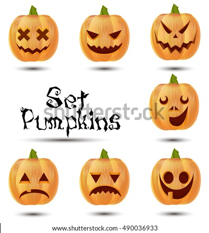 Halloween set pumpkins emotions icon design cute smile orange funny isolated. Carving expression holiday jack symbol character celebration glow, dark, season illustration fear, lantern angry face web