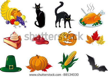 Halloween set. Vector icon set of cornucopia, fruit, berries,  vegetable,  black cats, hat, Turkey, leaves, pumpkin, pie, corn, bat