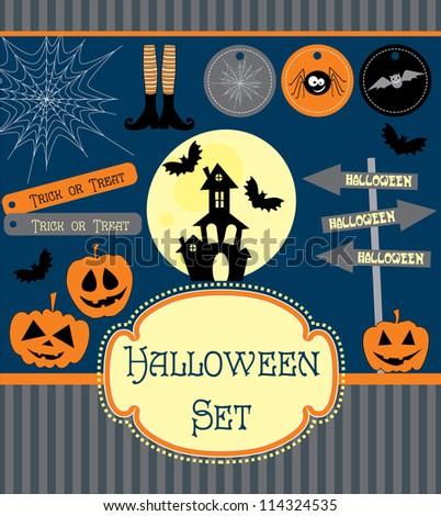 halloween set. vector illustration