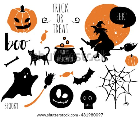 halloween set with bats spider pumpkins witch pot ghost skull - Halloween Skeleton Template