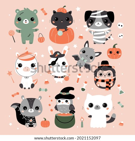 halloween set with cute animals