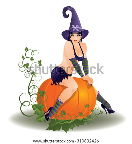 halloween sexy witch  vector