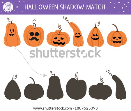 Halloween shadow matching activity for children. Autumn puzzle with jack-o-lanterns. Educational game for kids with scary pumpkins. Find the correct silhouette printable worksheet Foto stock ©