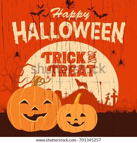 Halloween sign, Illustration of happy pumpkins on a wooden board, Vector