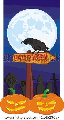 halloween - signpost and raven