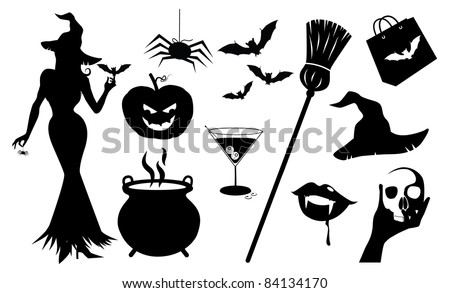 Halloween Silhouette Icons A collection of detailed Halloween silhouettes. EPS 8 vector file is grouped for easy editing, cleanly built with no open shapes or strokes.