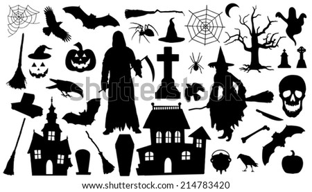 Halloween Silhouettes On The White Background Stock Vector ...