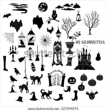 Halloween silhouettes. Set of  hand drawn elements. Can be used for backgrounds and cards of Halloween decorations. Pumpkin, cat, ghost, hours, castle, moon, autumn. Vector Illustration