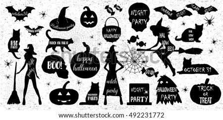 Halloween Silhouettes. Witch, pumpkin, black cat. Halloween party. Spider sticker. Trick or treat. Vector icons.