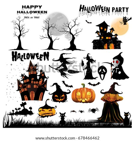 Halloween Silhouettes. Witch, pumpkin, black cat.Halloween party. Spider sticker. Trick or treat. Vector icons