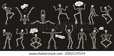 Halloween skeletons. Dancing skeletons, spooky halloween party skeleton mascots isolated vector illustration set. Funny skeletons characters. Illustration halloween skeleton, party dance bones