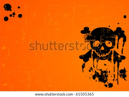 Halloween Skull on grange radial background with place for copy/text