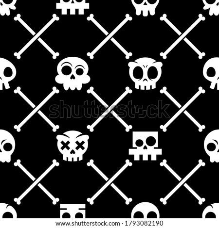 Halloween skull vector seamless pattern, Mexican cute skulls with bones design, Dia de los Muertos white ornament on black background. Repetitive wallpaper in black - cartoon skulls.