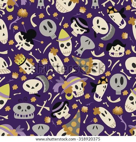 halloween skulls pattern 01 in