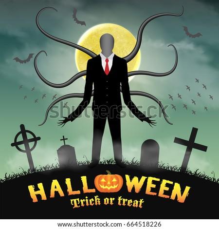 halloween slender tall man in a
