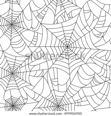 Halloween spider web seamless pattern. Black and white. Seamless vector cobweb background.