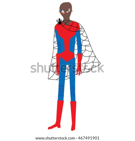Halloween spiderman party costume. Vector illustration.