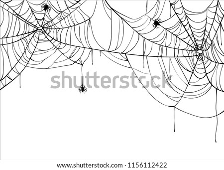 Halloween spiderweb vector background with spiders, copy space. Cobweb backdrop illustration isolated on white #1156112422