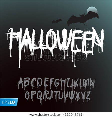 Halloween Splash Alphabet, vector Eps10 illustration.