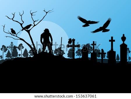 Halloween Spooky Graveyard Cemetery Vintage Background