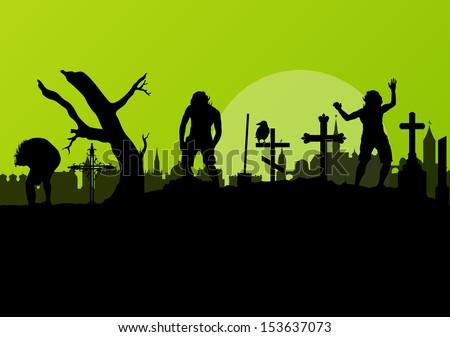 halloween spooky graveyard