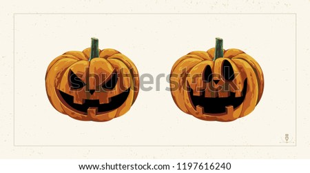 Halloween spooky jack o' lantern pumpkins clip art. Digital design elements for Halloween. Perfect for decoration, wrapping papers, greeting cards, web page background and other print projects.